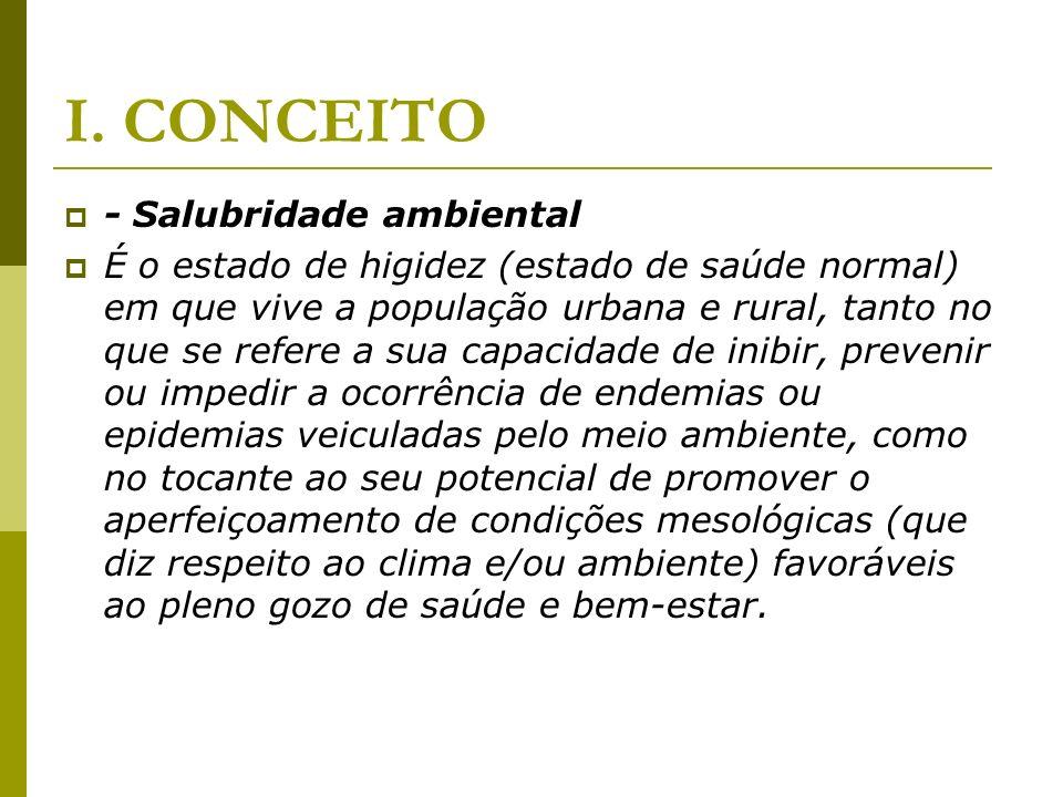 I. CONCEITO - Salubridade ambiental É o estado de higidez (estado de saúde normal) em que vive a população urbana e rural, tanto no que se refere a su