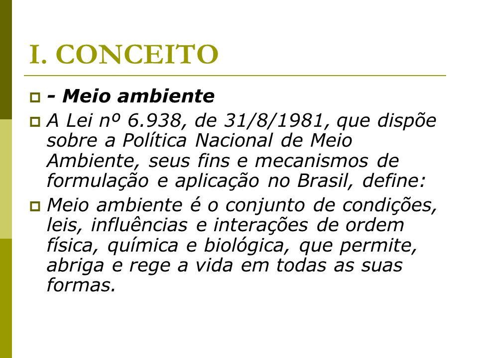 I. CONCEITO - Meio ambiente A Lei nº 6.938, de 31/8/1981, que dispõe sobre a Política Nacional de Meio Ambiente, seus fins e mecanismos de formulação