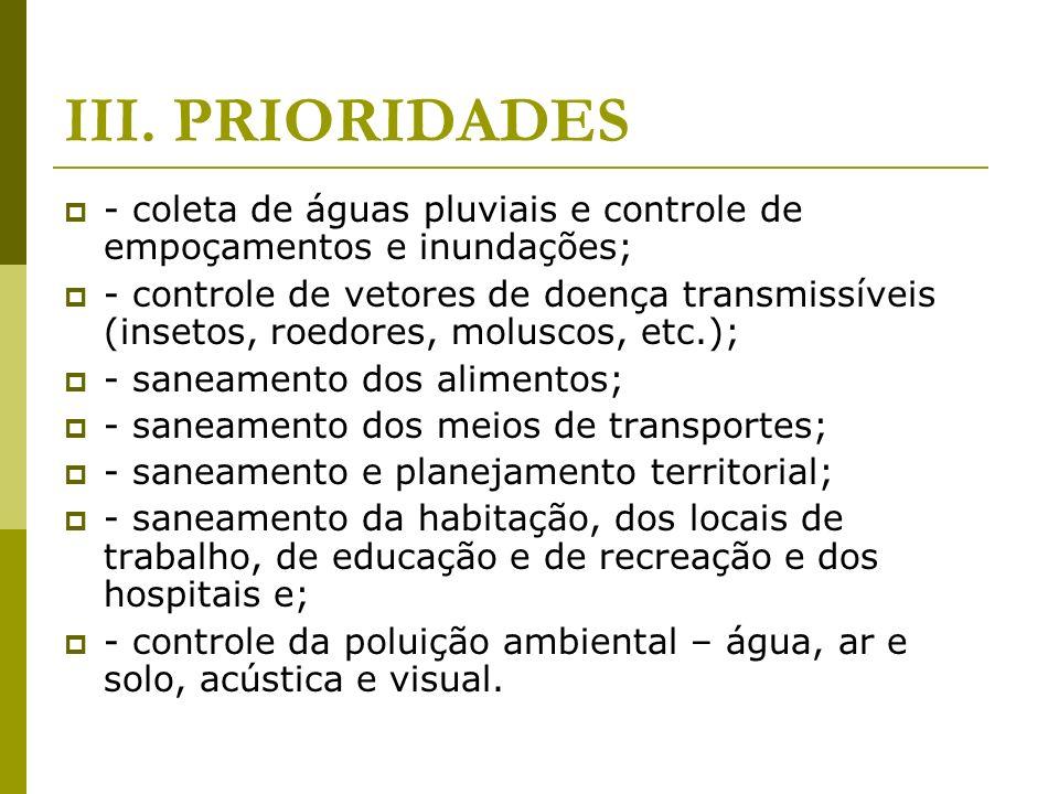 III. PRIORIDADES - coleta de águas pluviais e controle de empoçamentos e inundações; - controle de vetores de doença transmissíveis (insetos, roedores