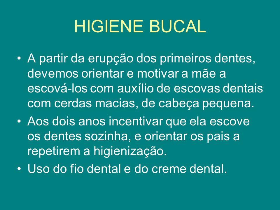 HIGIENE BUCAL A partir da erupção dos primeiros dentes, devemos orientar e motivar a mãe a escová-los com auxílio de escovas dentais com cerdas macias