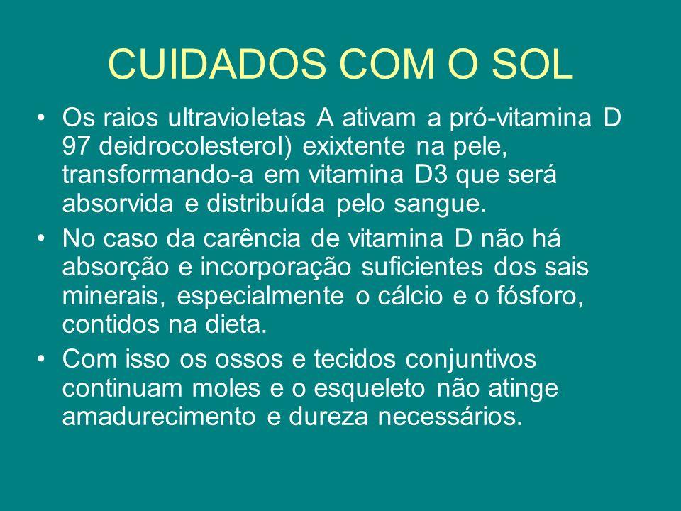 CUIDADOS COM O SOL Os raios ultravioletas A ativam a pró-vitamina D 97 deidrocolesterol) exixtente na pele, transformando-a em vitamina D3 que será ab