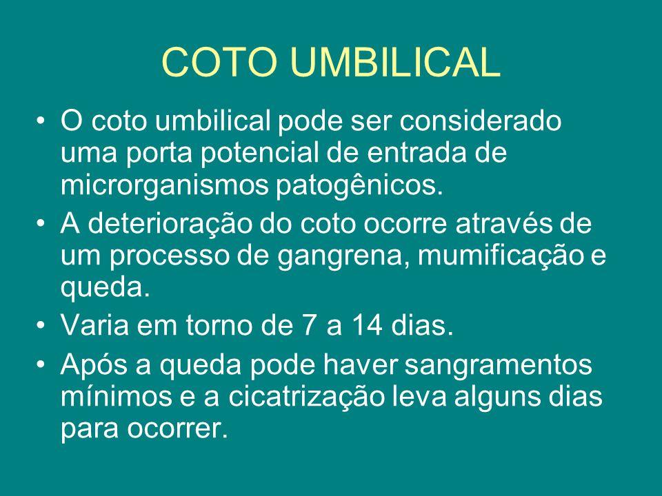 COTO UMBILICAL O coto umbilical pode ser considerado uma porta potencial de entrada de microrganismos patogênicos. A deterioração do coto ocorre atrav