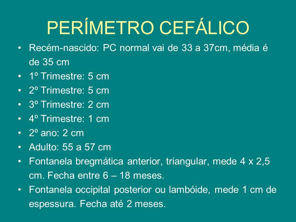 PERÍMETRO CEFÁLICO Recém-nascido: PC normal vai de 33 a 37cm, média é de 35 cm 1º Trimestre: 5 cm 2º Trimestre: 5 cm 3º Trimestre: 2 cm 4º Trimestre: