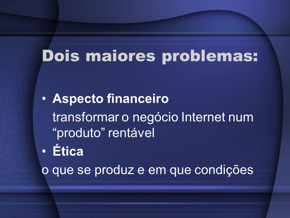 Dois maiores problemas: Aspecto financeiro transformar o negócio Internet num produto rentável Ética o que se produz e em que condições
