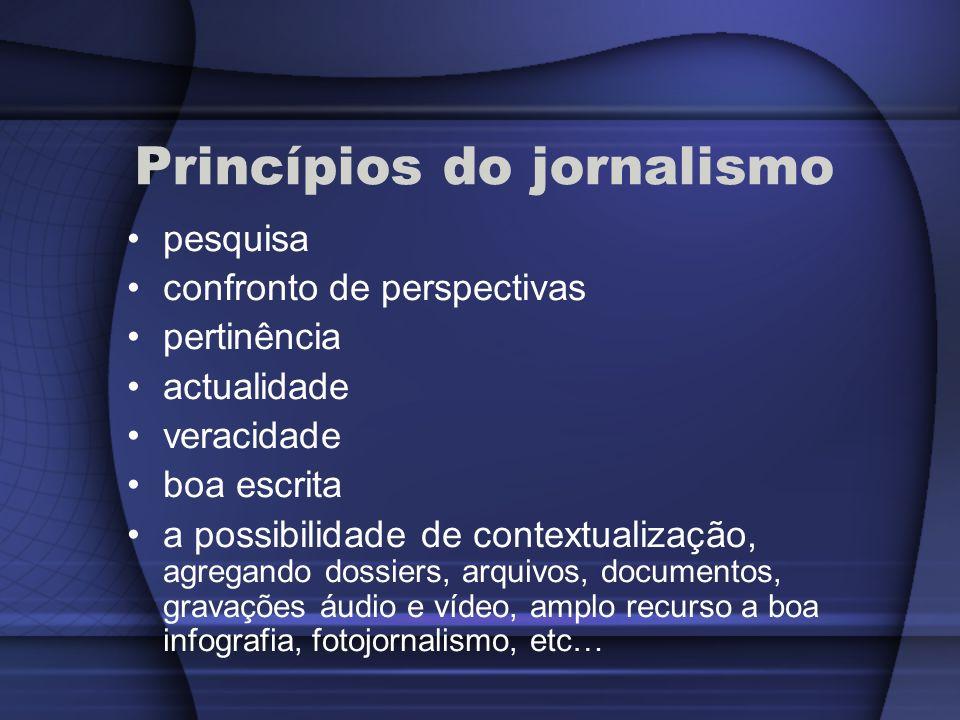 Princípios do jornalismo pesquisa confronto de perspectivas pertinência actualidade veracidade boa escrita a possibilidade de contextualização, agrega