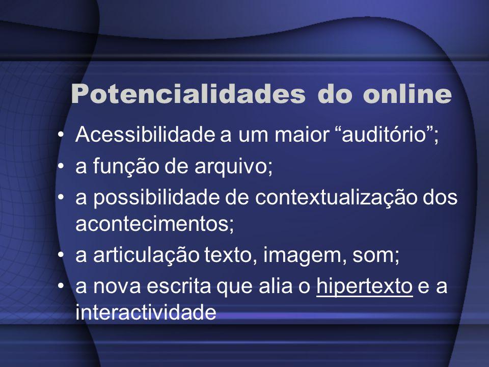 Potencialidades do online Acessibilidade a um maior auditório; a função de arquivo; a possibilidade de contextualização dos acontecimentos; a articula