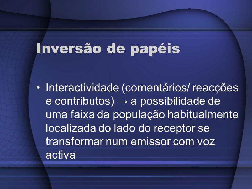 Inversão de papéis Interactividade (comentários/ reacções e contributos) a possibilidade de uma faixa da população habitualmente localizada do lado do