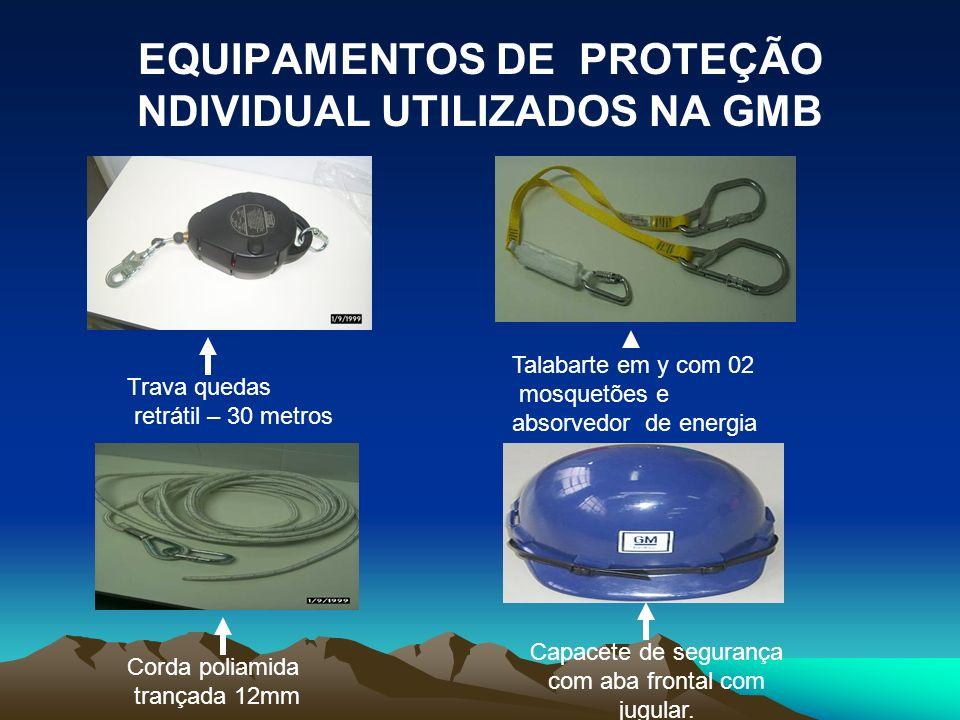 EQUIPAMENTOS DE PROTEÇÃO INDIVIDUAL UTILIZADOS NA GMB Trava quedas km cable para uso em cabo de aço Trava quedas para uso com corda poliamida 12mm Tra