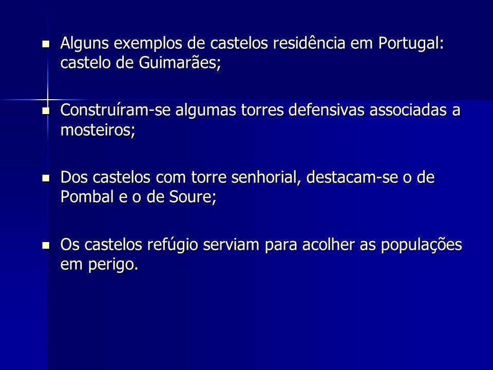 Alguns exemplos de castelos residência em Portugal: castelo de Guimarães; Alguns exemplos de castelos residência em Portugal: castelo de Guimarães; Co