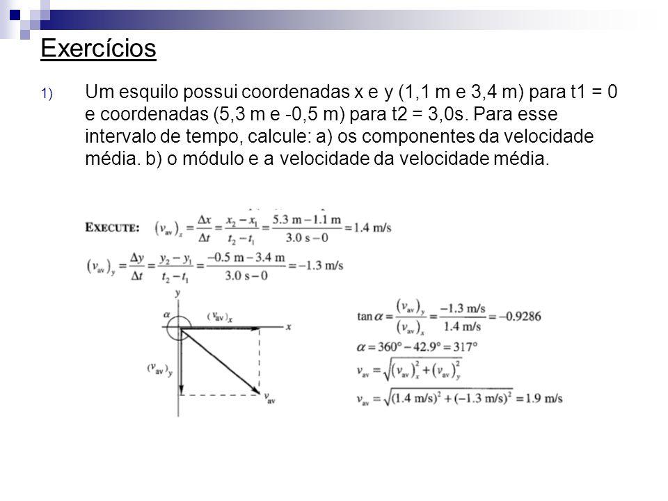 Exercícios 1) Um esquilo possui coordenadas x e y (1,1 m e 3,4 m) para t1 = 0 e coordenadas (5,3 m e -0,5 m) para t2 = 3,0s. Para esse intervalo de te
