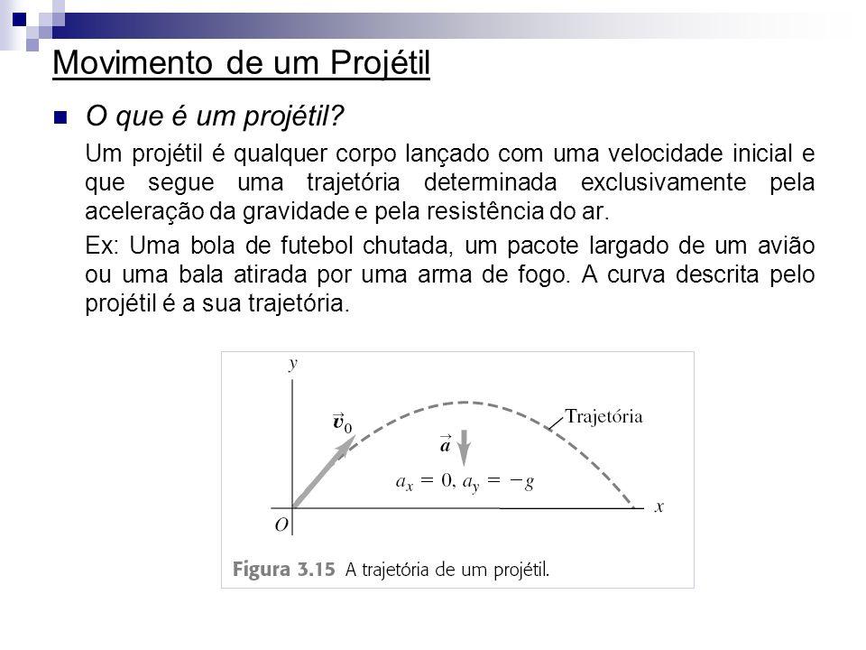 Movimento de um Projétil O que é um projétil? Um projétil é qualquer corpo lançado com uma velocidade inicial e que segue uma trajetória determinada e