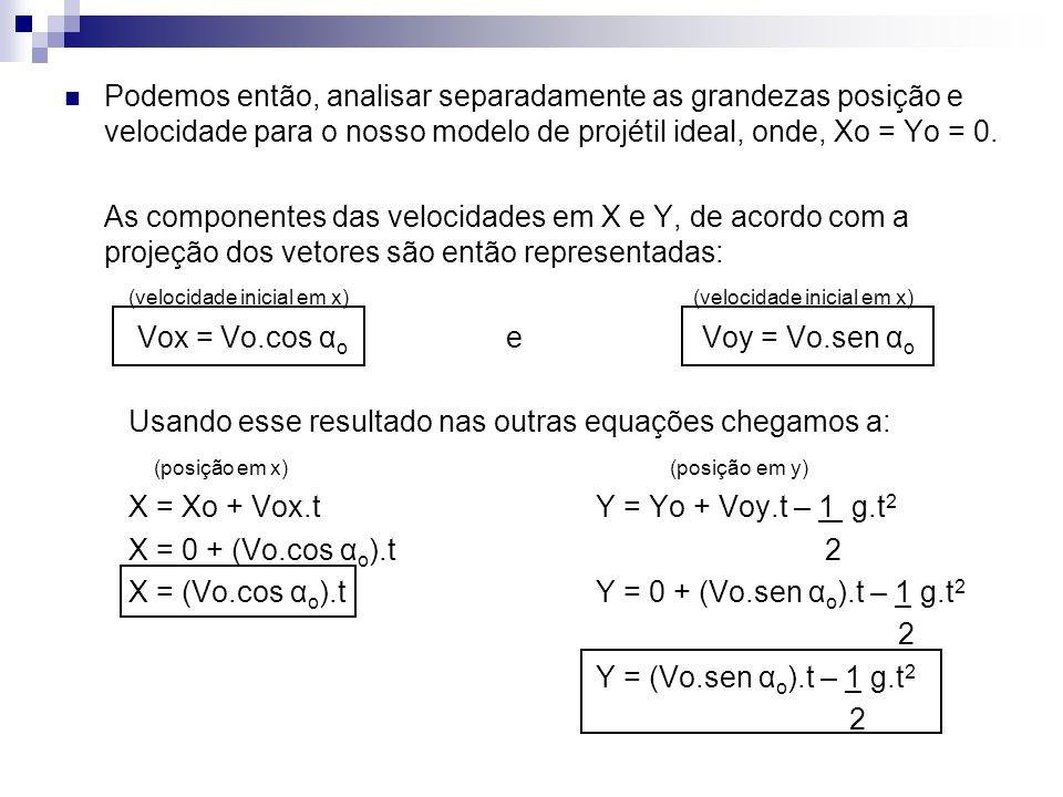 Podemos então, analisar separadamente as grandezas posição e velocidade para o nosso modelo de projétil ideal, onde, Xo = Yo = 0. As componentes das v