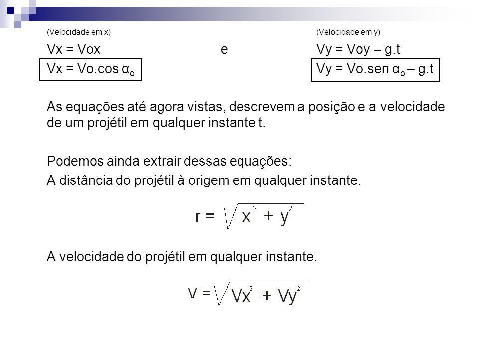(Velocidade em x)(Velocidade em y) Vx = Voxe Vy = Voy – g.t Vx = Vo.cos α o Vy = Vo.sen α o – g.t As equações até agora vistas, descrevem a posição e