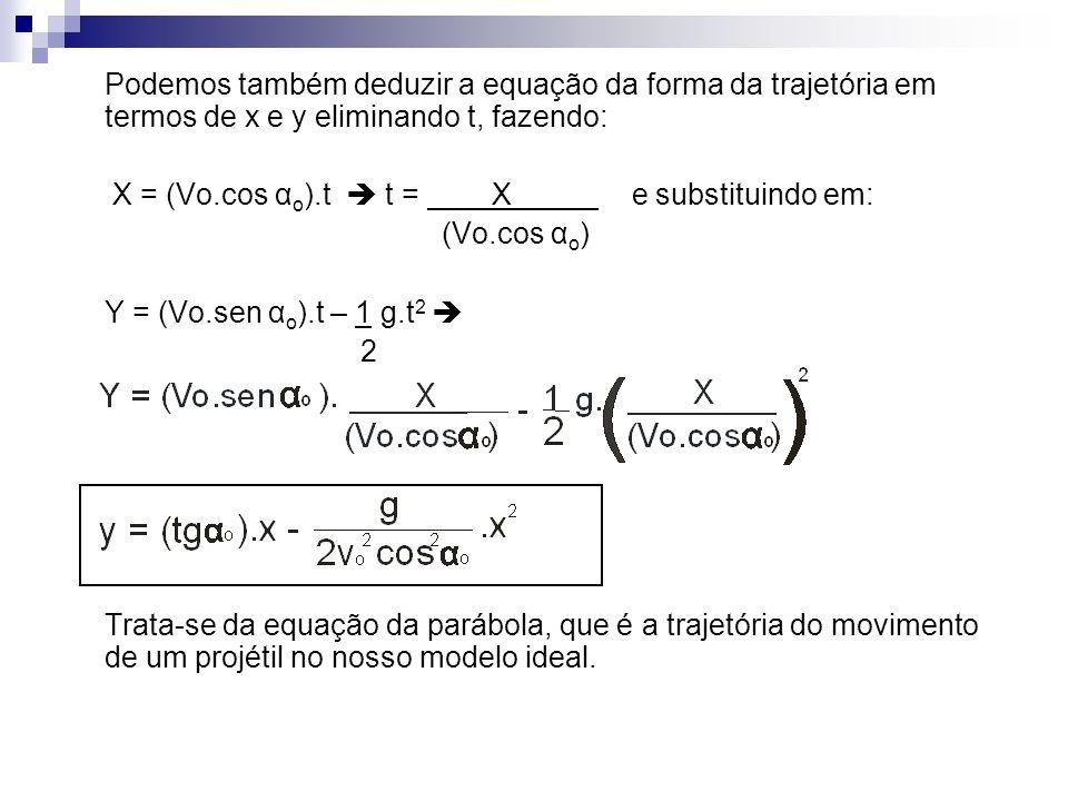 Podemos também deduzir a equação da forma da trajetória em termos de x e y eliminando t, fazendo: X = (Vo.cos α o ).t t = X e substituindo em: (Vo.cos