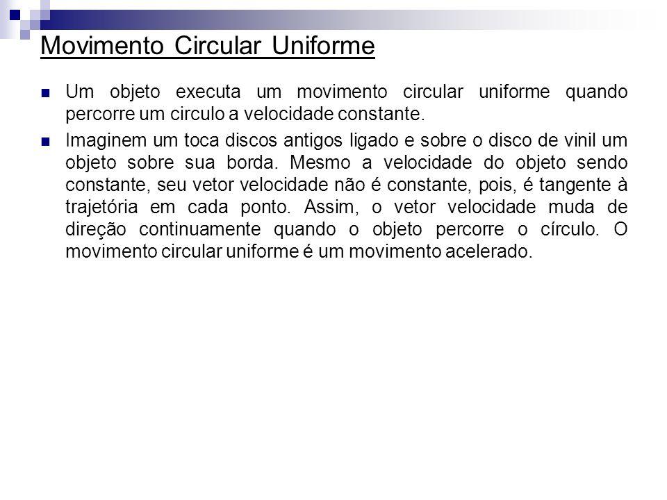 Movimento Circular Uniforme Um objeto executa um movimento circular uniforme quando percorre um circulo a velocidade constante. Imaginem um toca disco