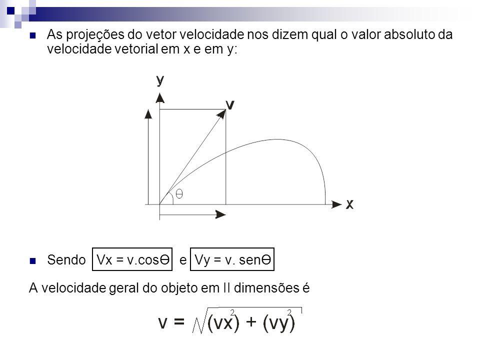 As projeções do vetor velocidade nos dizem qual o valor absoluto da velocidade vetorial em x e em y: Sendo Vx = v.cosӨ e Vy = v. senӨ A velocidade ger