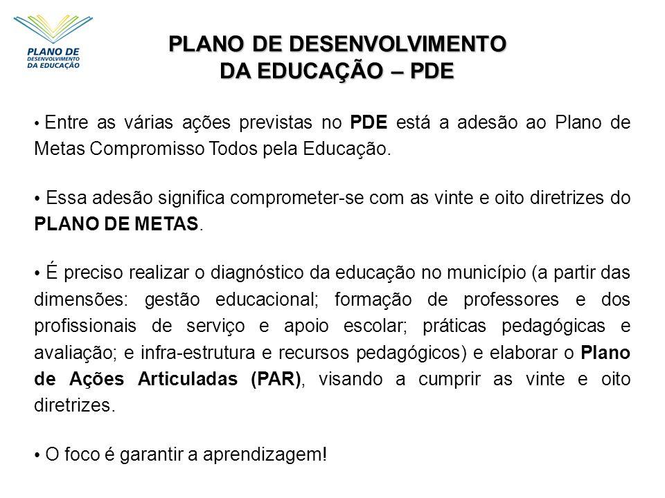 Entre as várias ações previstas no PDE está a adesão ao Plano de Metas Compromisso Todos pela Educação. Essa adesão significa comprometer-se com as vi