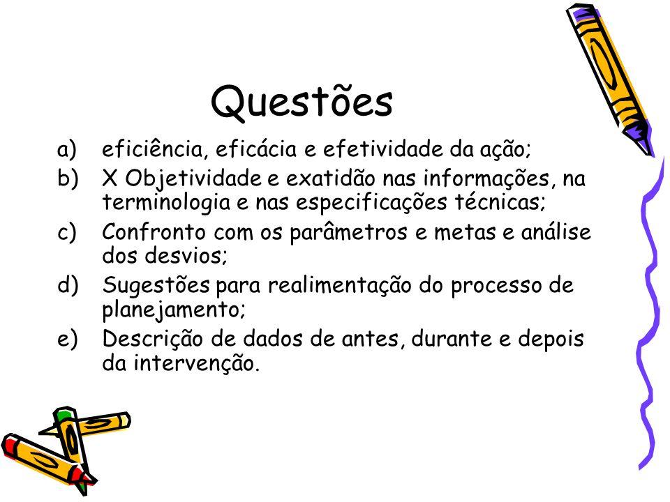 Questões a)eficiência, eficácia e efetividade da ação; b)X Objetividade e exatidão nas informações, na terminologia e nas especificações técnicas; c)C