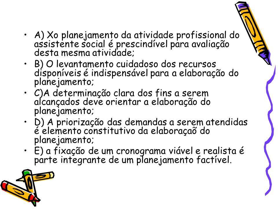 A) Xo planejamento da atividade profissional do assistente social é prescindível para avaliação desta mesma atividade; B) O levantamento cuidadoso dos