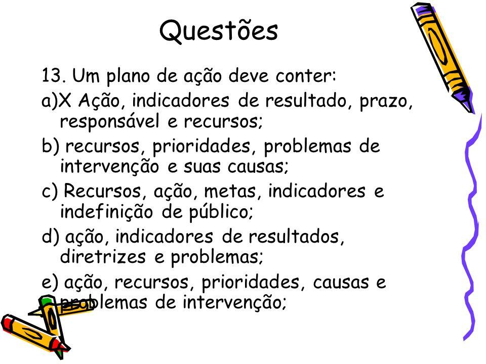 Questões 13. Um plano de ação deve conter: a)X Ação, indicadores de resultado, prazo, responsável e recursos; b) recursos, prioridades, problemas de i