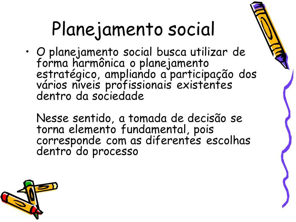 Planejamento social O planejamento social busca utilizar de forma harmônica o planejamento estratégico, ampliando a participação dos vários níveis pro