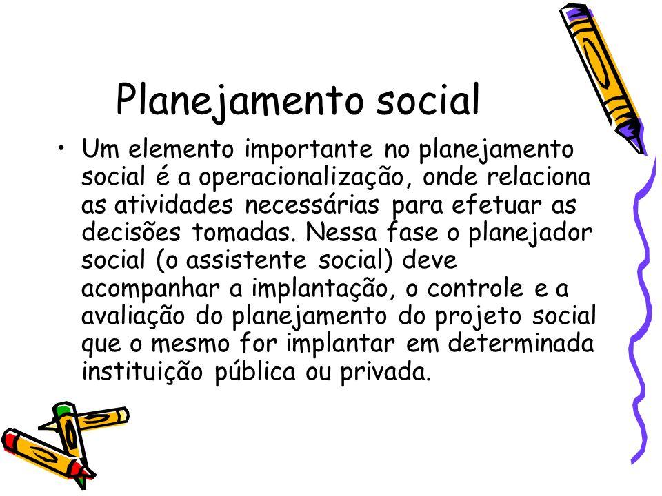 Planejamento social Um elemento importante no planejamento social é a operacionalização, onde relaciona as atividades necessárias para efetuar as deci