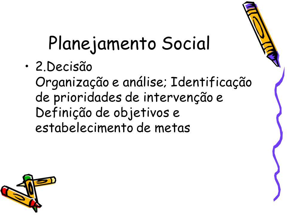 Planejamento Social 2.Decisão Organização e análise; Identificação de prioridades de intervenção e Definição de objetivos e estabelecimento de metas