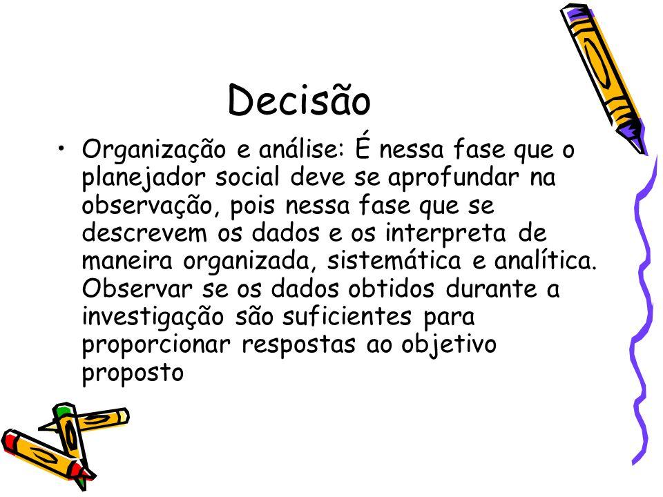 Decisão Organização e análise: É nessa fase que o planejador social deve se aprofundar na observação, pois nessa fase que se descrevem os dados e os i