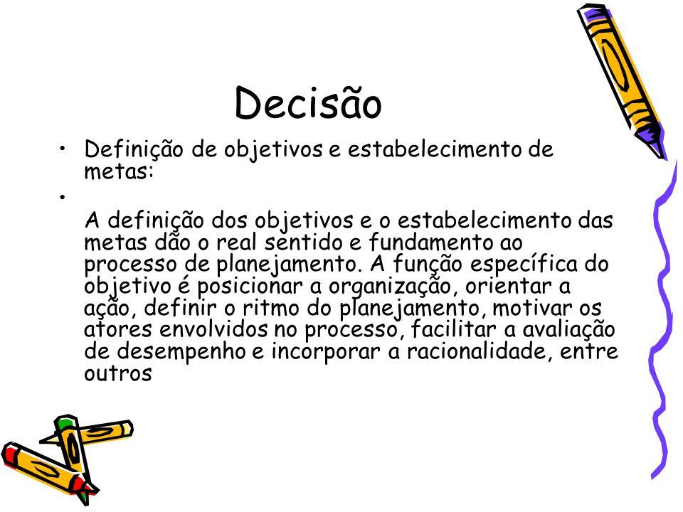 Decisão Definição de objetivos e estabelecimento de metas: A definição dos objetivos e o estabelecimento das metas dão o real sentido e fundamento ao