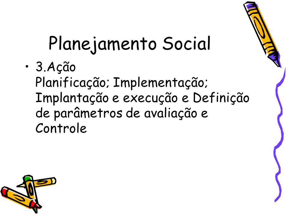 Planejamento Social 3.Ação Planificação; Implementação; Implantação e execução e Definição de parâmetros de avaliação e Controle