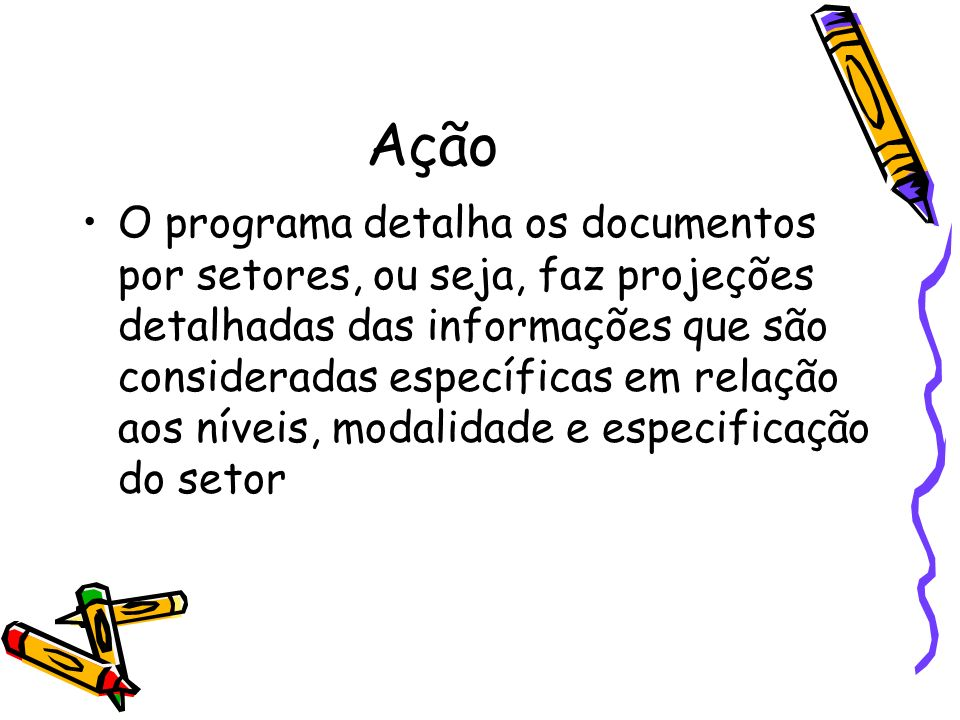Ação O programa detalha os documentos por setores, ou seja, faz projeções detalhadas das informações que são consideradas específicas em relação aos n
