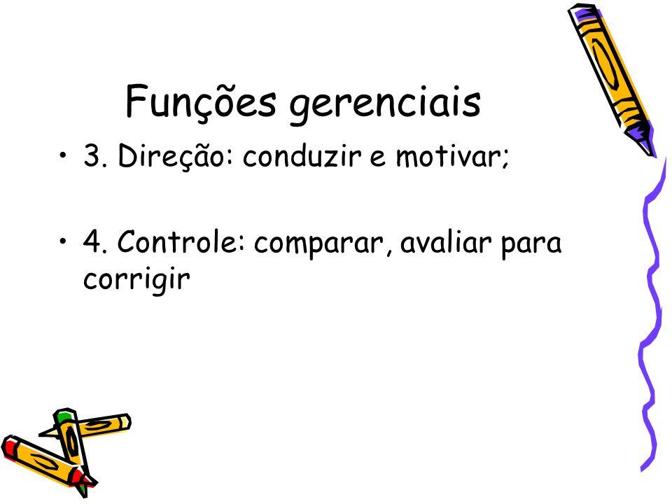 Funções gerenciais 3. Direção: conduzir e motivar; 4. Controle: comparar, avaliar para corrigir
