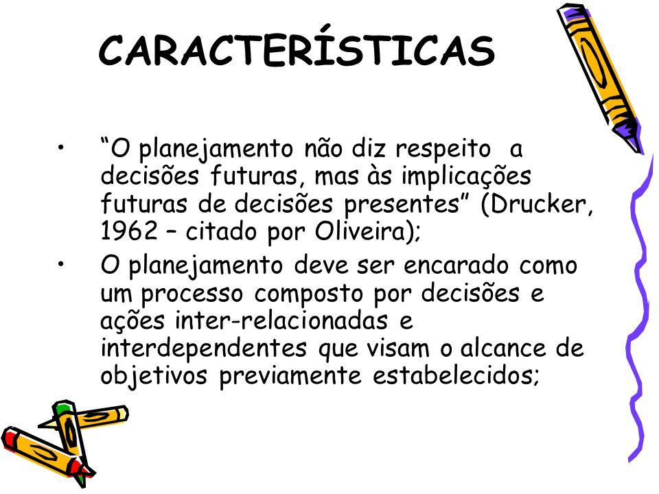 CARACTERÍSTICAS O planejamento não diz respeito a decisões futuras, mas às implicações futuras de decisões presentes (Drucker, 1962 – citado por Olive