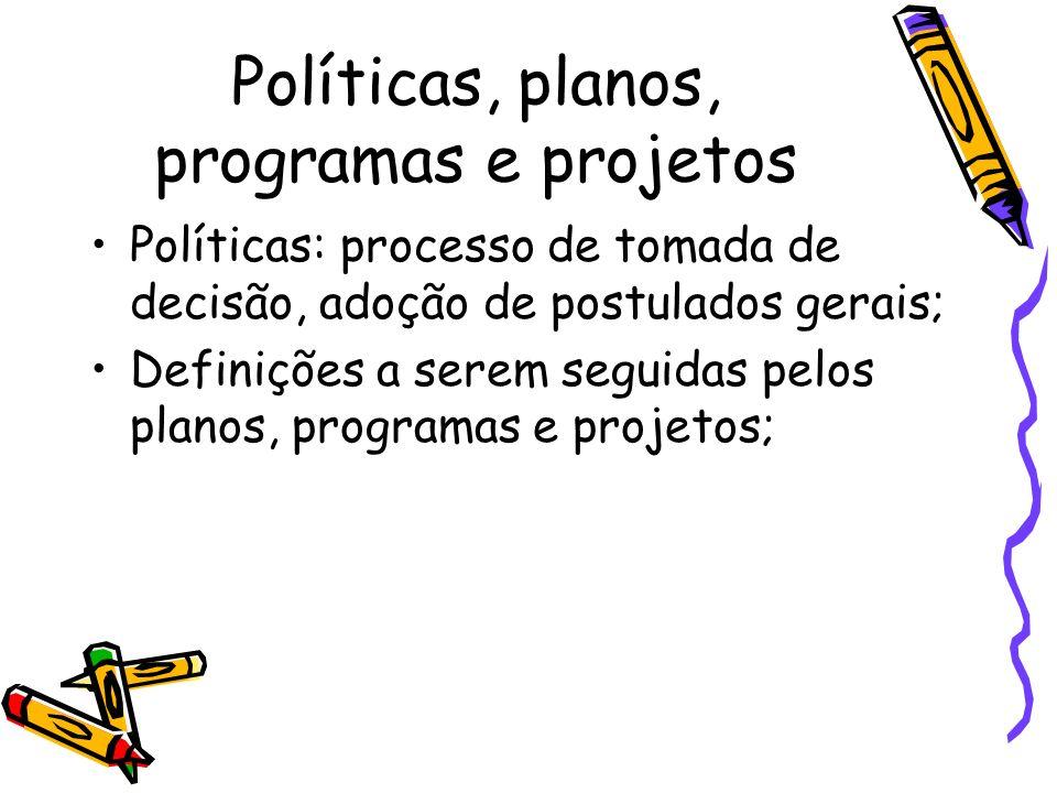 Políticas, planos, programas e projetos Planos: ações de caráter geral, grandes linhas políticas, estratégias, diretrizes e responsabilidades; Dentro de um plano os problemas são delimitados e feita uma seleção, definindo áreas de atuação, para as áreas são elaboradas programas que culminarão em projetos;
