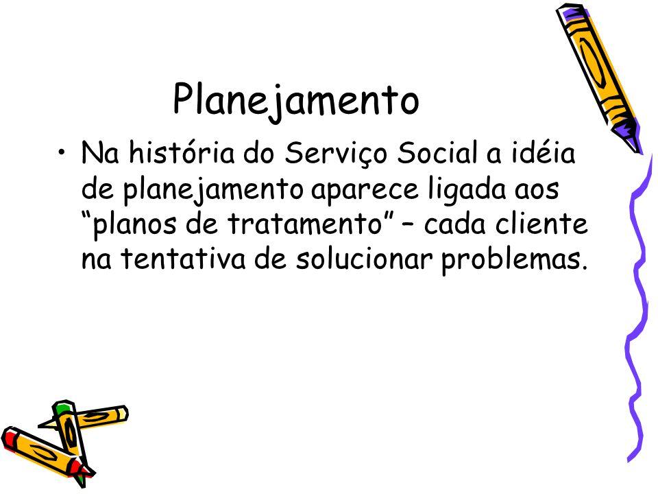 Planejamento Na história do Serviço Social a idéia de planejamento aparece ligada aos planos de tratamento – cada cliente na tentativa de solucionar p