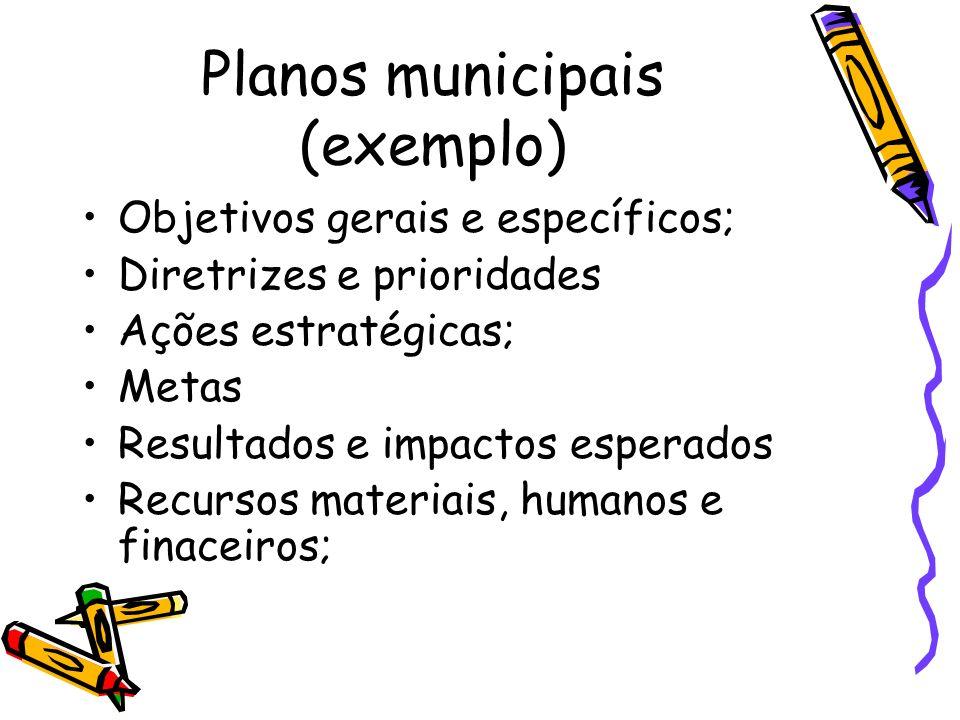 Planos municipais (exemplo) Objetivos gerais e específicos; Diretrizes e prioridades Ações estratégicas; Metas Resultados e impactos esperados Recurso