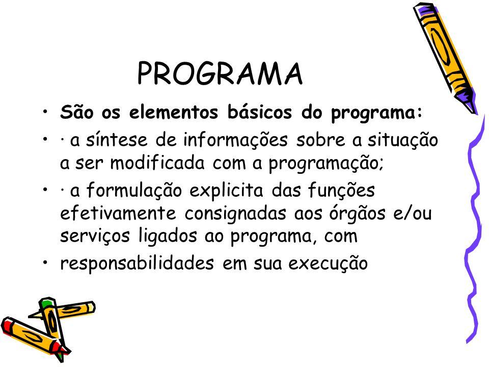 PROGRAMA São os elementos básicos do programa: · a síntese de informações sobre a situação a ser modificada com a programação; · a formulação explicit