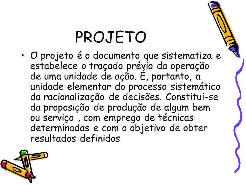 PROJETO O projeto é o documento que sistematiza e estabelece o traçado prévio da operação de uma unidade de ação. É, portanto, a unidade elementar do