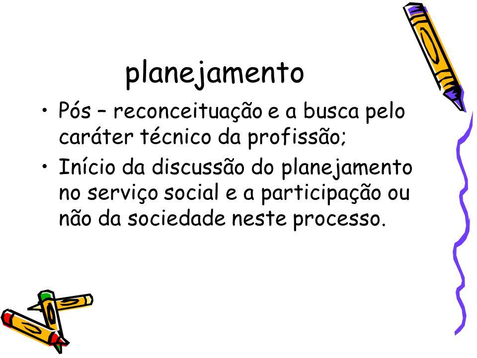 planejamento Pós – reconceituação e a busca pelo caráter técnico da profissão; Início da discussão do planejamento no serviço social e a participação