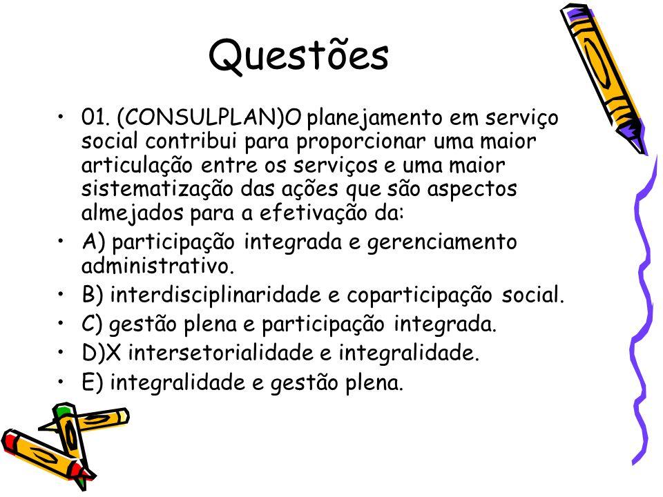 Questões 01. (CONSULPLAN)O planejamento em serviço social contribui para proporcionar uma maior articulação entre os serviços e uma maior sistematizaç