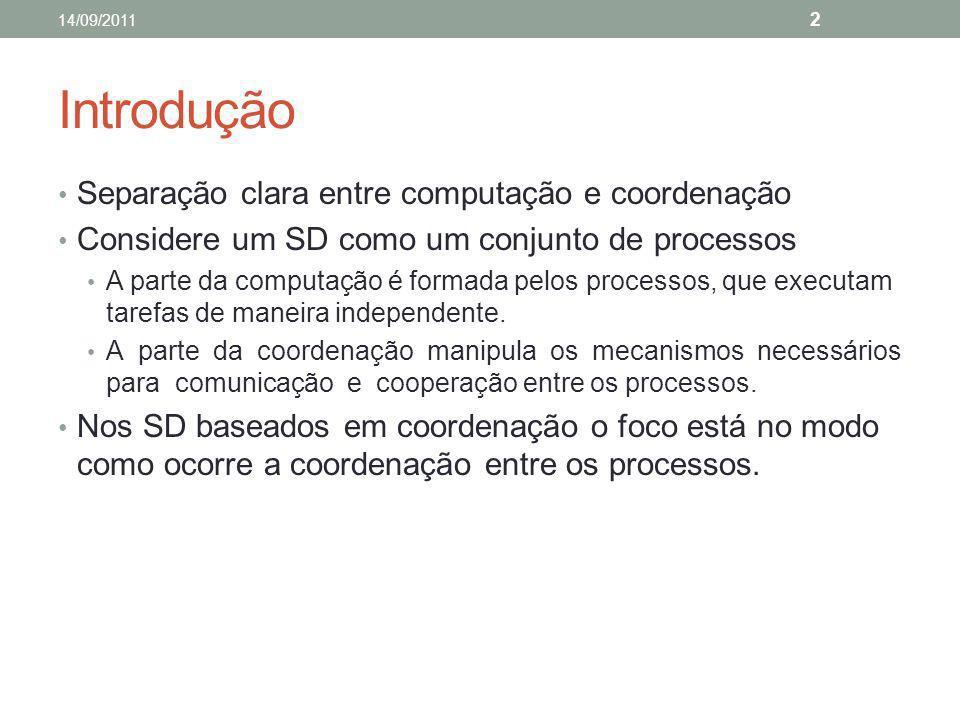 Introdução Separação clara entre computação e coordenação Considere um SD como um conjunto de processos A parte da computação é formada pelos processo