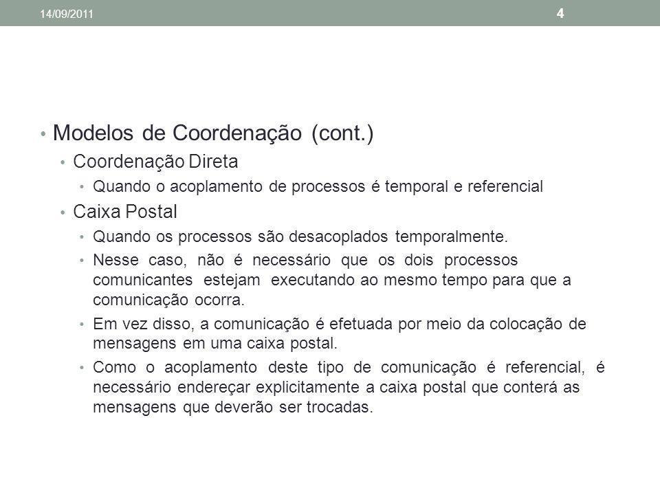 Modelos de Coordenação (cont.) Coordenação Direta Quando o acoplamento de processos é temporal e referencial Caixa Postal Quando os processos são desa
