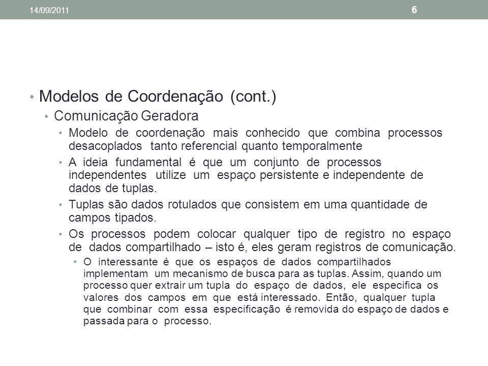 Modelos de Coordenação (cont.) Comunicação Geradora Modelo de coordenação mais conhecido que combina processos desacoplados tanto referencial quanto t