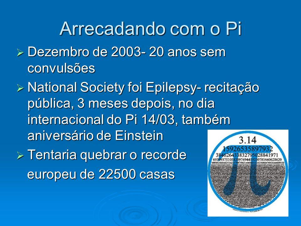 Arrecadando com o Pi Dezembro de 2003- 20 anos sem convulsões Dezembro de 2003- 20 anos sem convulsões National Society foi Epilepsy- recitação públic