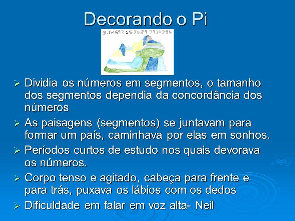 Decorando o Pi Dividia os números em segmentos, o tamanho dos segmentos dependia da concordância dos números Dividia os números em segmentos, o tamanh