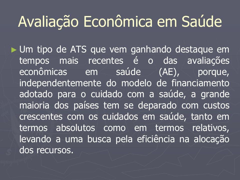 Avaliação Econômica em Saúde Um tipo de ATS que vem ganhando destaque em tempos mais recentes é o das avaliações econômicas em saúde (AE), porque, ind