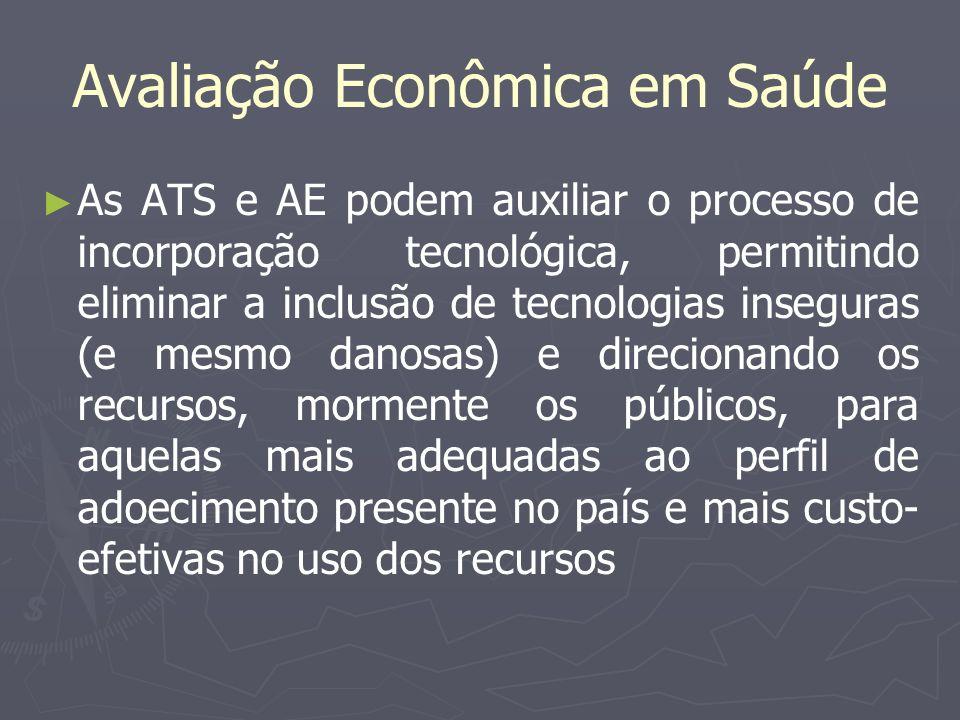 Avaliação Econômica em Saúde As ATS e AE podem auxiliar o processo de incorporação tecnológica, permitindo eliminar a inclusão de tecnologias insegura
