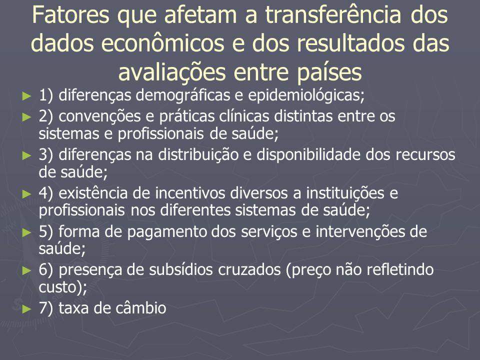 Fatores que afetam a transferência dos dados econômicos e dos resultados das avaliações entre países 1) diferenças demográficas e epidemiológicas; 2)