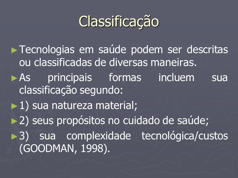 Classificação Tecnologias em saúde podem ser descritas ou classificadas de diversas maneiras. As principais formas incluem sua classificação segundo: