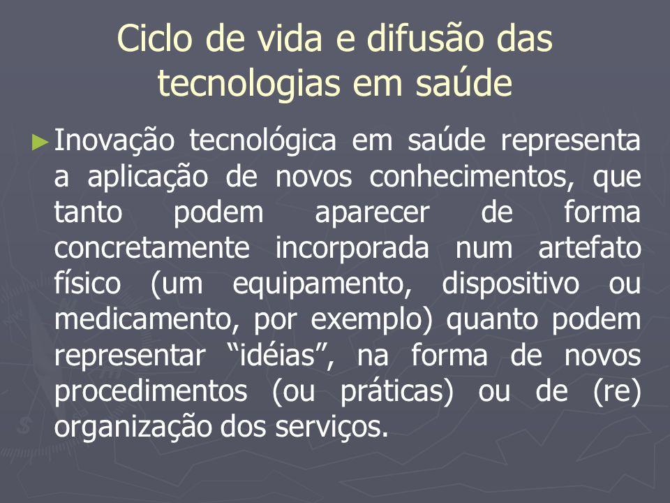 Difusão tecnológica Significa o progresso de uma inovação tecnológica em um dado sistema social durante um período particular de tempo, que, no caso das tecnologias de saúde, é a prática médica e dos serviços de saúde.